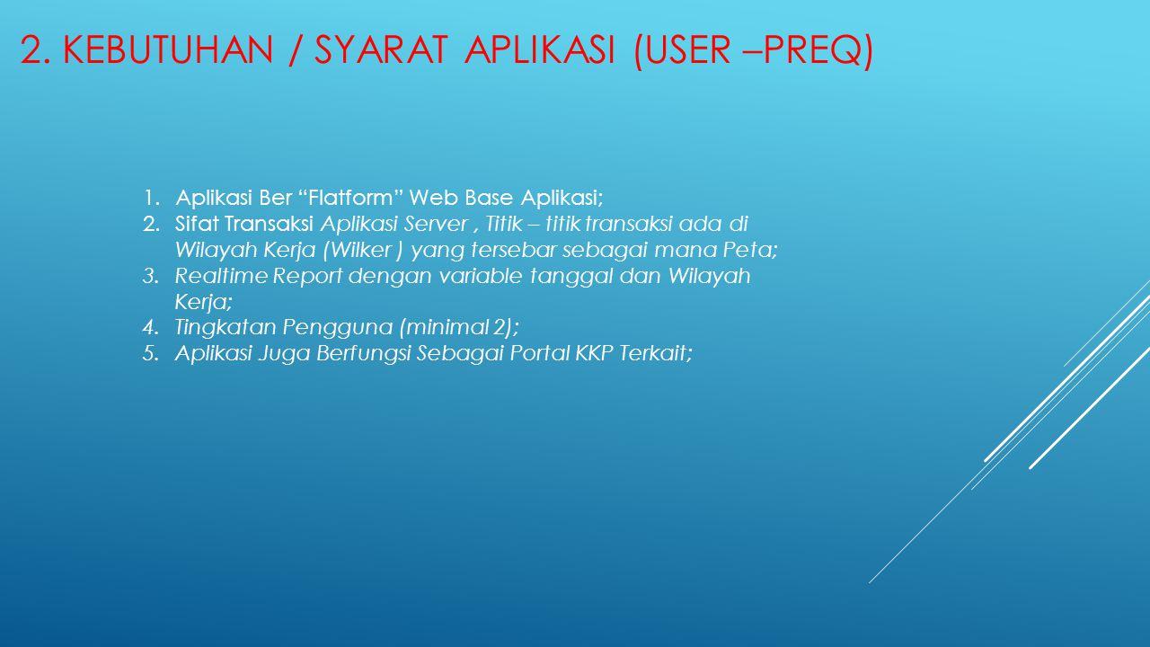 """2. KEBUTUHAN / SYARAT APLIKASI (USER –PREQ) 1.Aplikasi Ber """"Flatform"""" Web Base Aplikasi; 2.Sifat Transaksi Aplikasi Server, Titik – titik transaksi ad"""