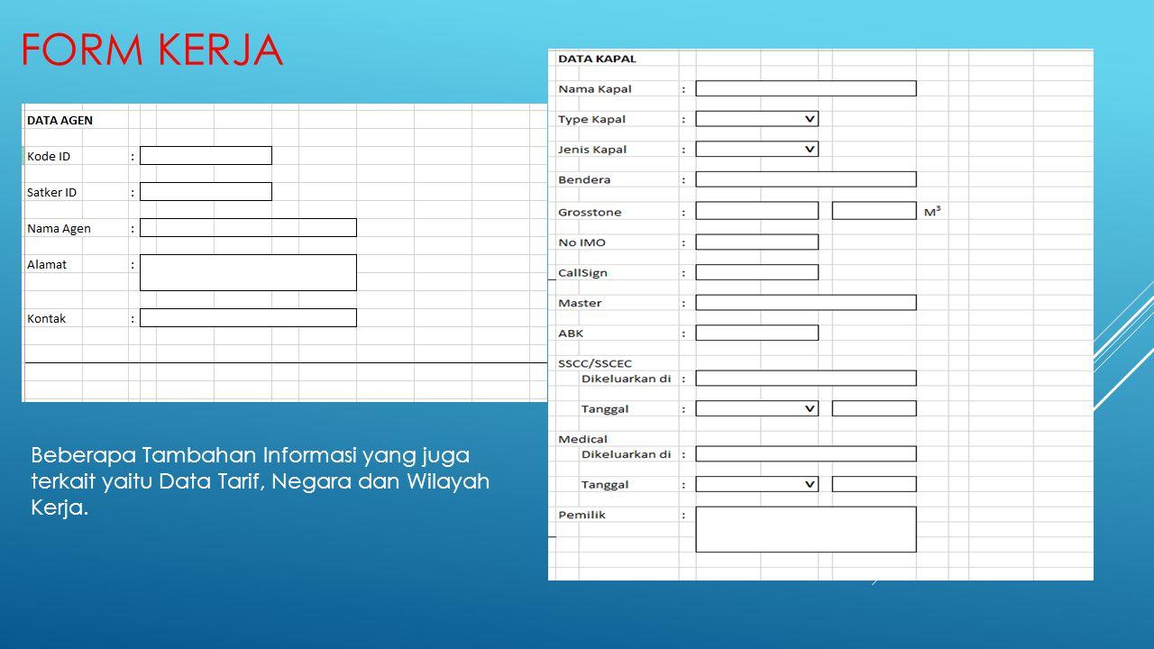 Beberapa Tambahan Informasi yang juga terkait yaitu Data Tarif, Negara dan Wilayah Kerja.