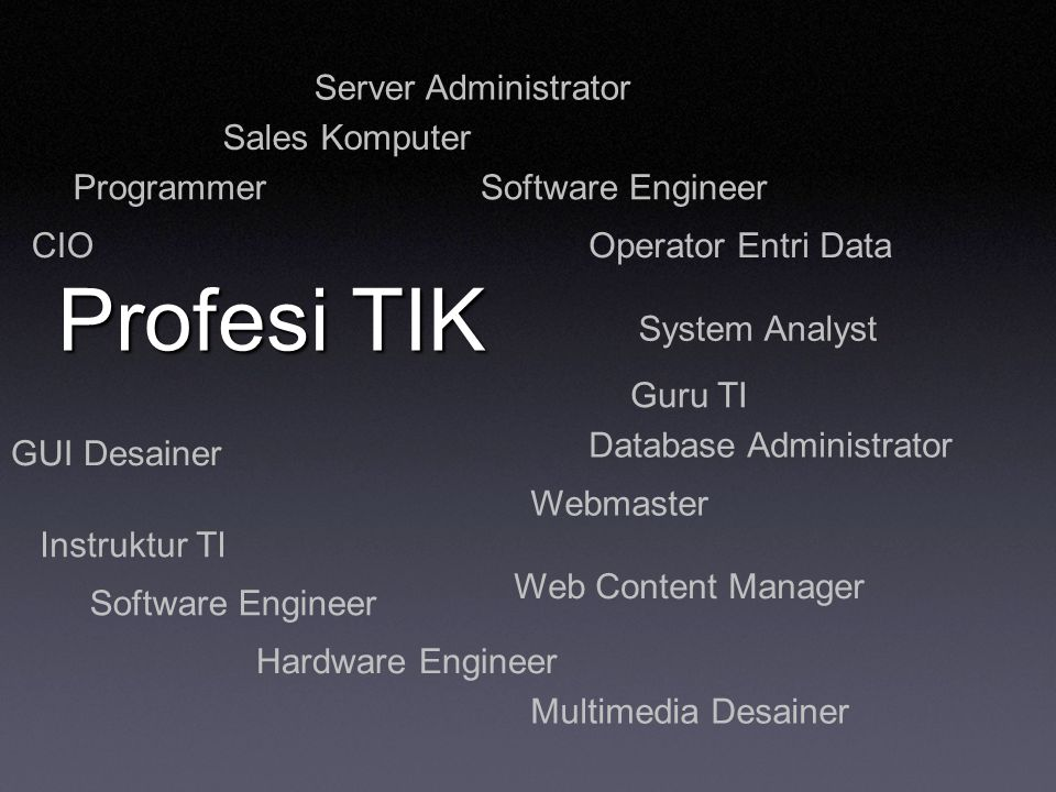 Profesi TIK Software Engineer Hardware Engineer System Analyst Software Engineer Webmaster Server Administrator Web Content Manager Guru TI Instruktur