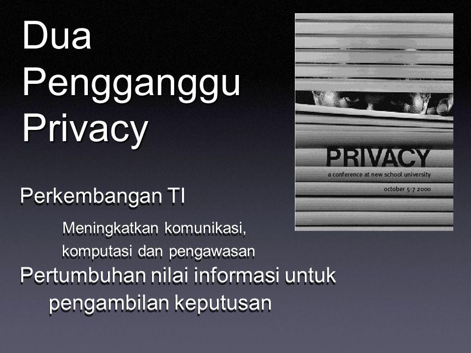 Dua Pengganggu Privacy Perkembangan TI Meningkatkan komunikasi, komputasi dan pengawasan Pertumbuhan nilai informasi untuk pengambilan keputusan Perkembangan TI Meningkatkan komunikasi, komputasi dan pengawasan Pertumbuhan nilai informasi untuk pengambilan keputusan