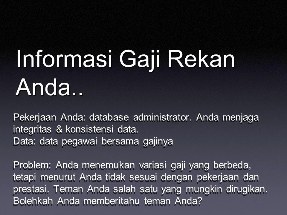 Informasi Gaji Rekan Anda.. Pekerjaan Anda: database administrator. Anda menjaga integritas & konsistensi data. Data: data pegawai bersama gajinya Pro