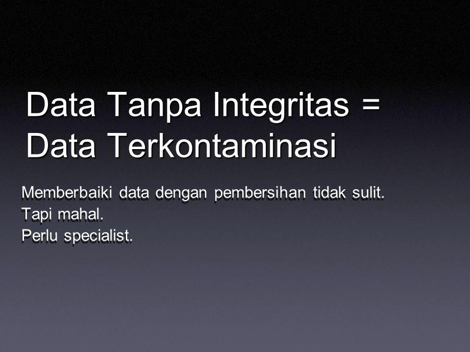 Data Tanpa Integritas = Data Terkontaminasi Memberbaiki data dengan pembersihan tidak sulit. Tapi mahal. Perlu specialist. Memberbaiki data dengan pem