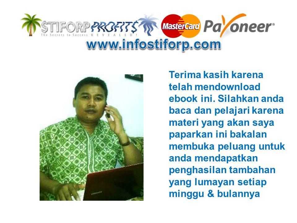 INDO NETWORK TEAM merupakan komunitas para pebisnis online (online enterpreuner) yang mengembangkan bisnis stiforP indonesia dalam upaya untuk mengembangkan jaringan mereka di program STIFORP MasterCard TUJUAN: •Membantu anda yang berkeinginan untuk MENDAPATKAN PENGHASILAN Dari RUMAH walaupun TIDAK MELAKUKAN PROMOSI (REKRUT MEMBER) •Tanpa perlu meninggalkan pekerjaan utama anda (bisnis sampingan lain) karena STIFORP menyediakan TOOLS MARKETING yang sangat berguna untuk mendukung pengembangan bisnis anda Indonesia Network