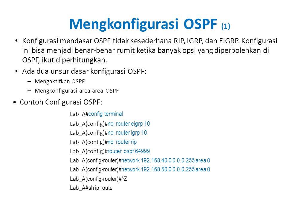 Mengkonfigurasi OSPF (1) • Konfigurasi mendasar OSPF tidak sesederhana RIP, IGRP, dan EIGRP. Konfigurasi ini bisa menjadi benar-benar rumit ketika ban