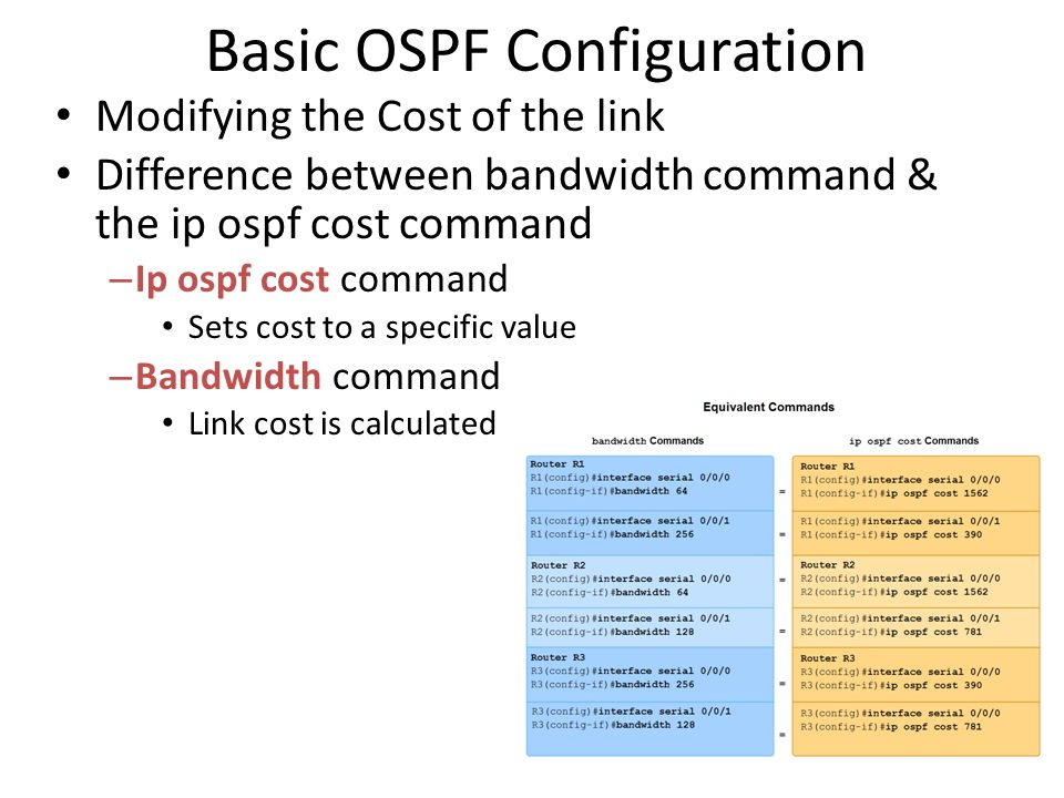 Basic OSPF Configuration • Modifying the Cost of the link • Difference between bandwidth command & the ip ospf cost command – Ip ospf cost command • S