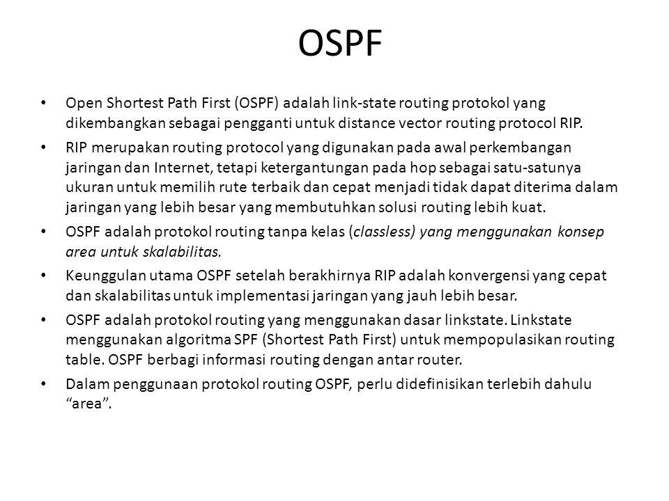 OSPF • Open Shortest Path First (OSPF) adalah link-state routing protokol yang dikembangkan sebagai pengganti untuk distance vector routing protocol R