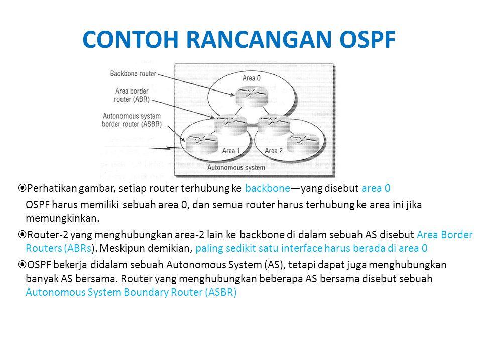 CONTOH RANCANGAN OSPF  Perhatikan gambar, setiap router terhubung ke backbone—yang disebut area 0 OSPF harus memiliki sebuah area 0, dan semua router