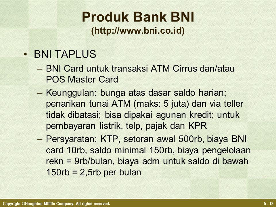 Produk Bank BNI (http://www.bni.co.id) •BNI TAPLUS –BNI Card untuk transaksi ATM Cirrus dan/atau POS Master Card –Keunggulan: bunga atas dasar saldo h