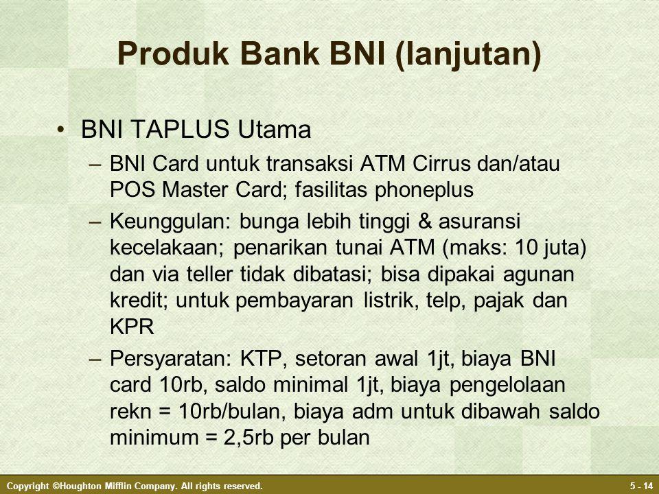 Produk Bank BNI (lanjutan) •BNI TAPLUS Utama –BNI Card untuk transaksi ATM Cirrus dan/atau POS Master Card; fasilitas phoneplus –Keunggulan: bunga leb