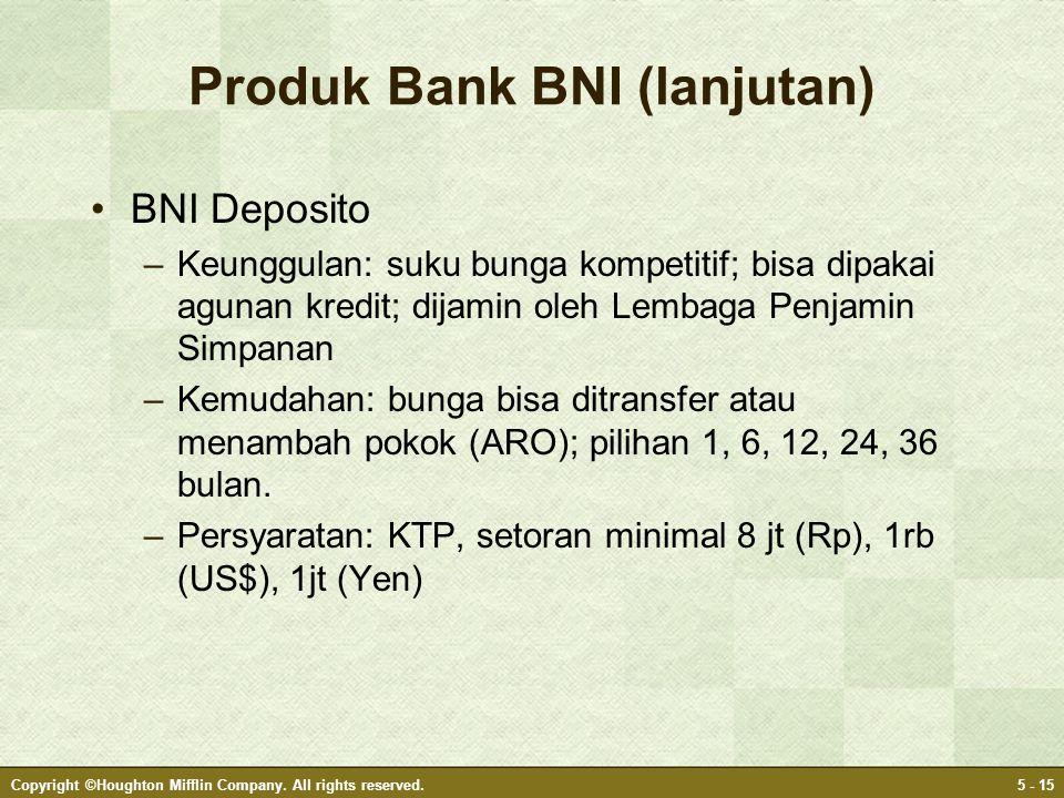 Produk Bank BNI (lanjutan) •BNI Deposito –Keunggulan: suku bunga kompetitif; bisa dipakai agunan kredit; dijamin oleh Lembaga Penjamin Simpanan –Kemud