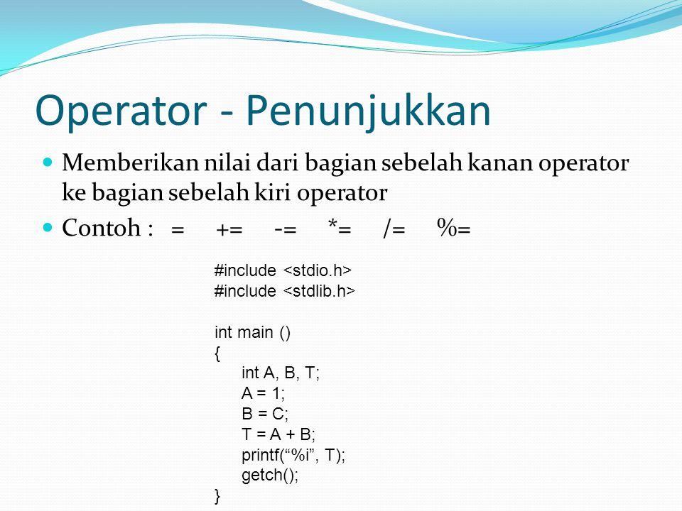 Operator - Penunjukkan  Memberikan nilai dari bagian sebelah kanan operator ke bagian sebelah kiri operator  Contoh : = += -= *= /= %= #include int