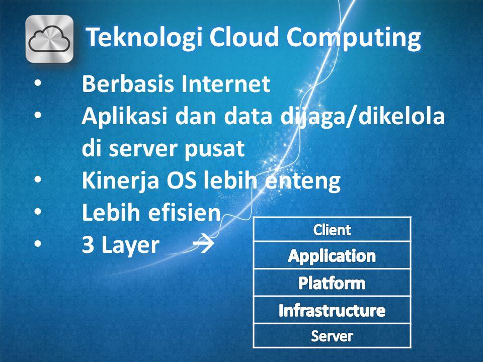 • Berbasis Internet • Aplikasi dan data dijaga/dikelola di server pusat • Kinerja OS lebih enteng • Lebih efisien • 3 Layer 