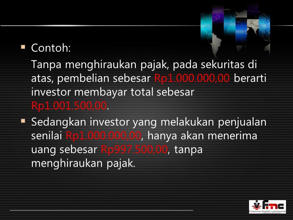 LOGO  Contoh: Tanpa menghiraukan pajak, pada sekuritas di atas, pembelian sebesar Rp1.000.000,00 berarti investor membayar total sebesar Rp1.001.500,00.
