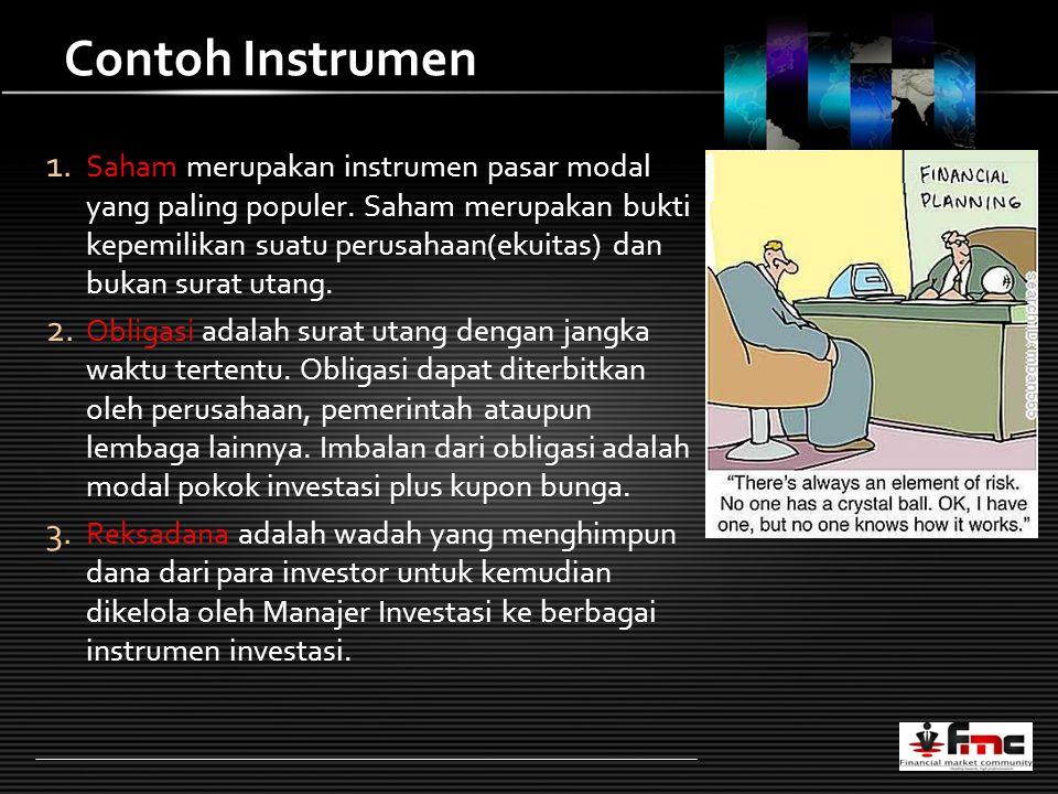 LOGO Contoh Instrumen 1. Saham merupakan instrumen pasar modal yang paling populer.
