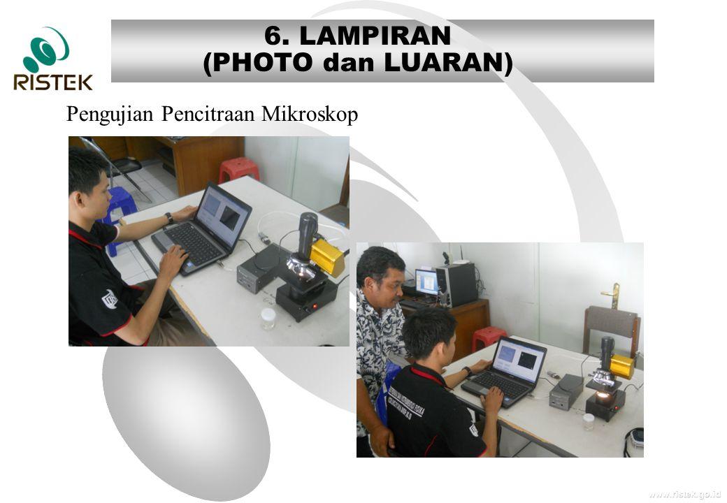 www.ristek.go.id 6. LAMPIRAN (PHOTO dan LUARAN) Pengujian Pencitraan Mikroskop