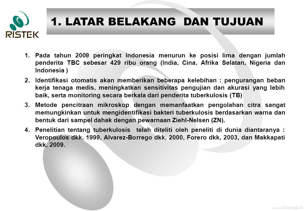 www.ristek.go.id 1. LATAR BELAKANG DAN TUJUAN 1.Pada tahun 2009 peringkat Indonesia menurun ke posisi lima dengan jumlah penderita TBC sebesar 429 rib