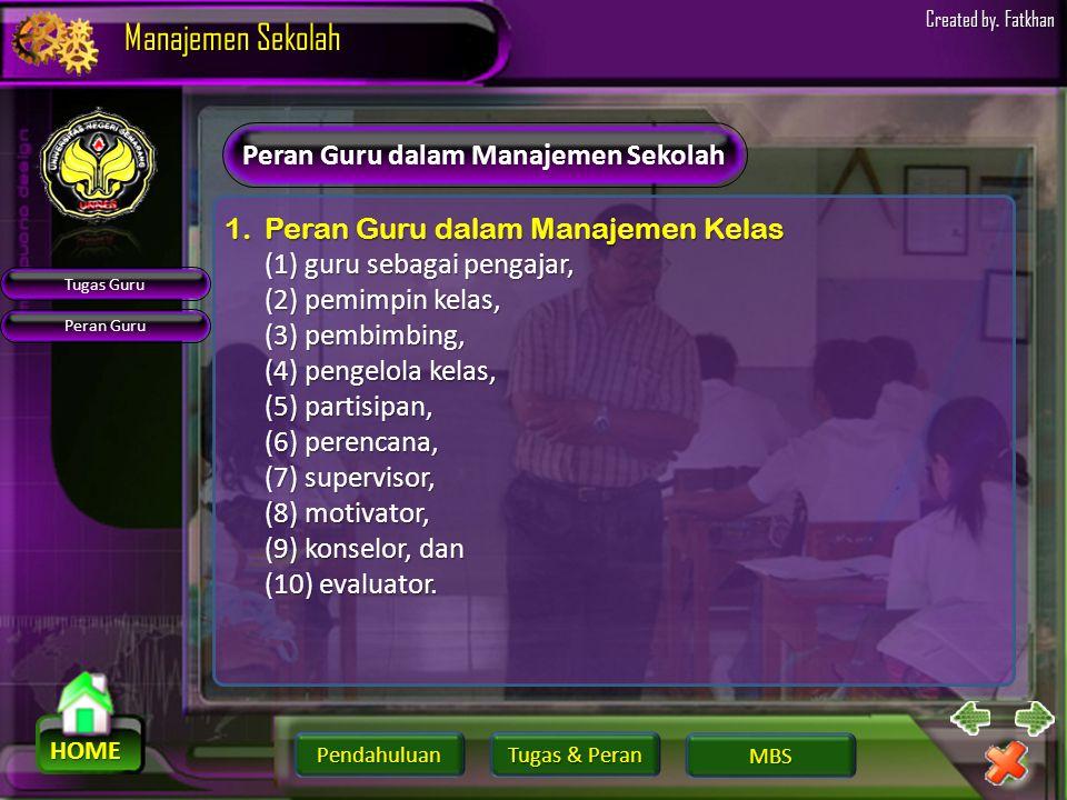 Pendahuluan HOME Manajemen Sekolah Tugas & Peran Tugas & Peran MBS Created by. Fatkhan Tugas Guru dalam Manajemen Sekolah Tugas Guru ProfesiProfesi Ke