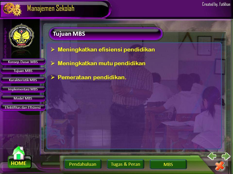 Pendahuluan HOME Manajemen Sekolah Tugas & Peran Tugas & Peran MBS Created by. Fatkhan Konsep Dasar MBS Tujuan MBS Karakteristik MBS Implementasi MBS
