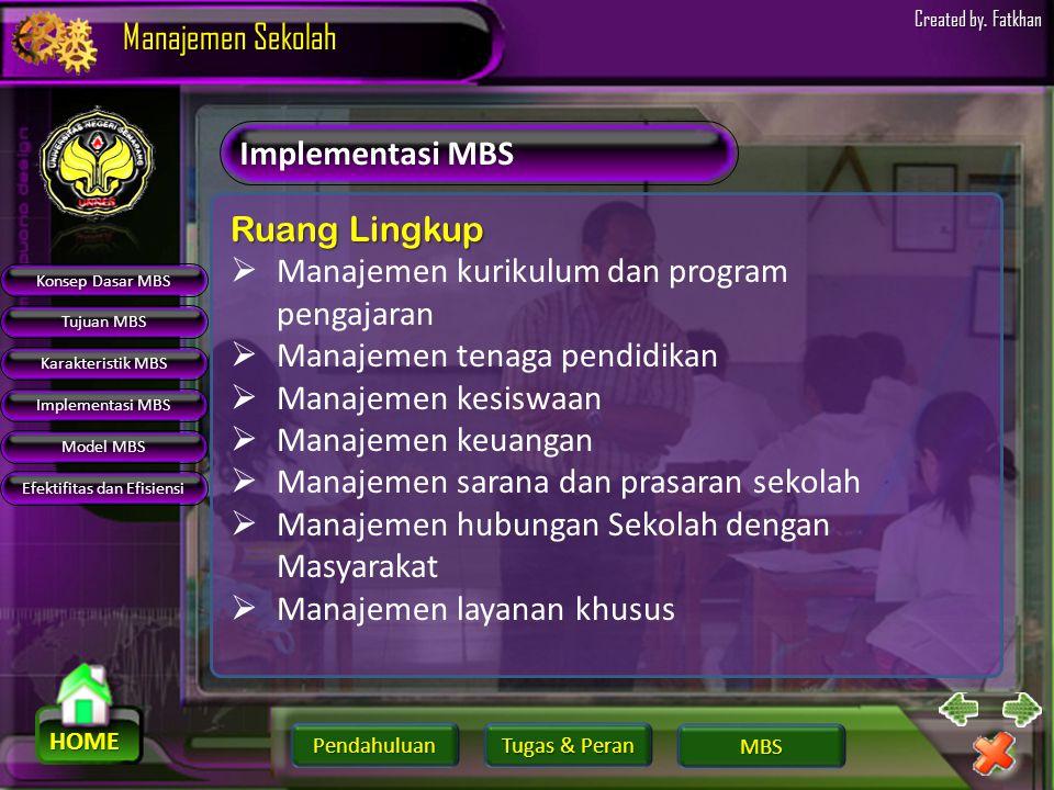 Pendahuluan HOME Manajemen Sekolah Tugas & Peran Tugas & Peran MBS Created by. Fatkhan Karakteristik MBS Pola LamaPola MBS SentralistikDesentralisasi