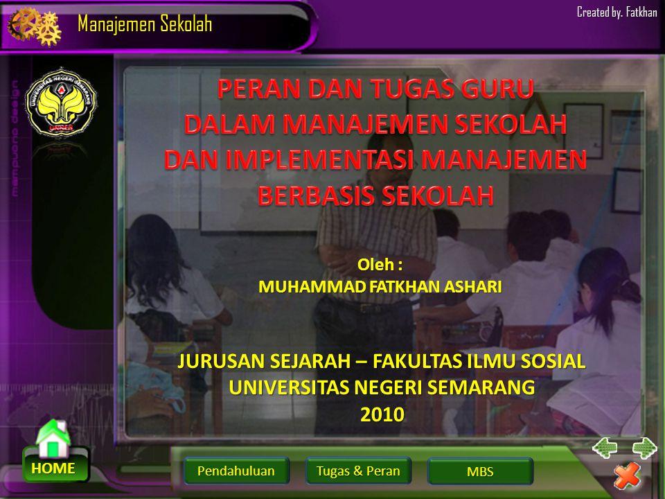 Pendahuluan HOME Manajemen Sekolah Tugas & Peran Tugas & Peran MBS Created by. Fatkhan