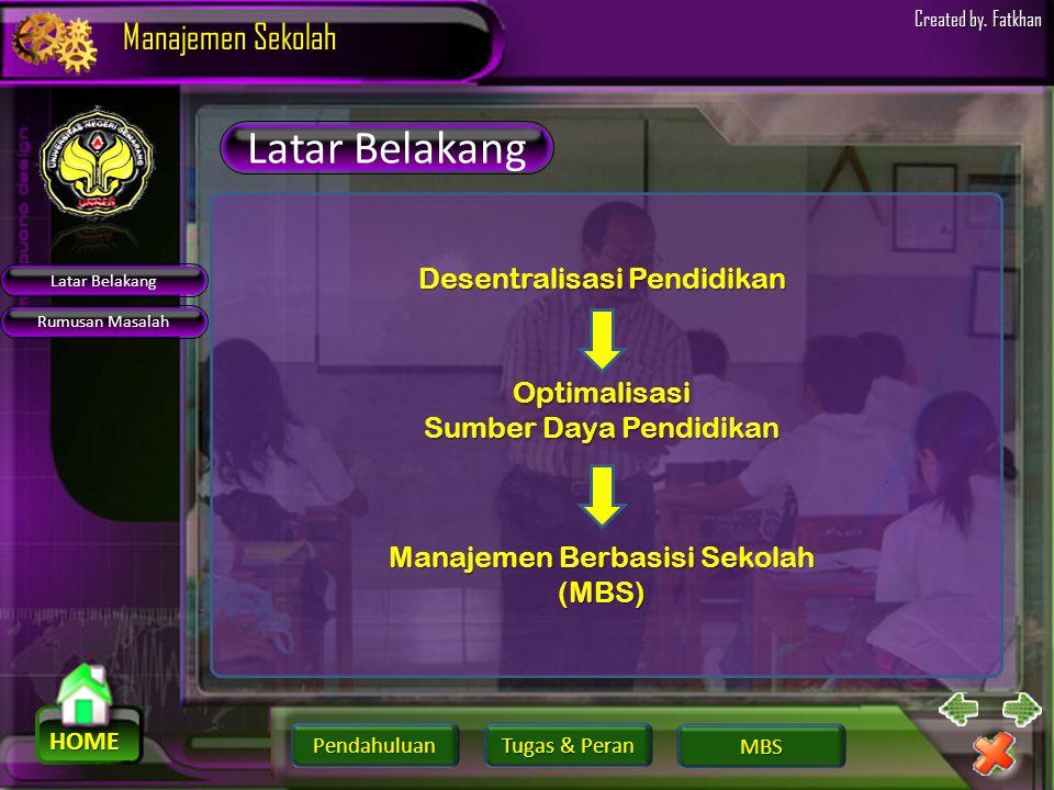 Pendahuluan HOME Manajemen Sekolah Tugas & Peran Tugas & Peran MBS Created by. Fatkhan Latar Belakang Rumusan Masalah