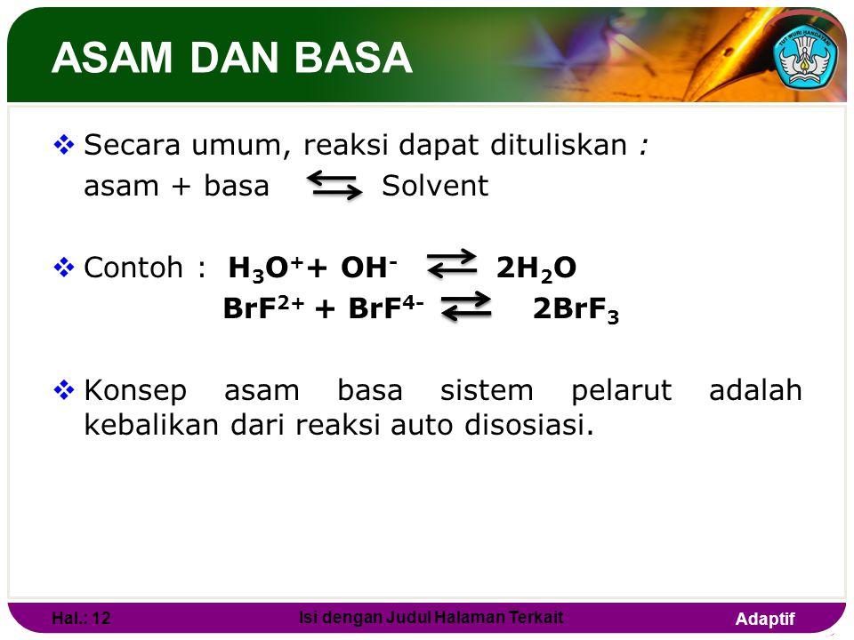 Adaptif ASAM DAN BASA Definisi asam-basa menurut sistem Pelarut (solvent)  Asam adalah suatu kation yang berasal dari reaksi auto disosiasi pelarut y