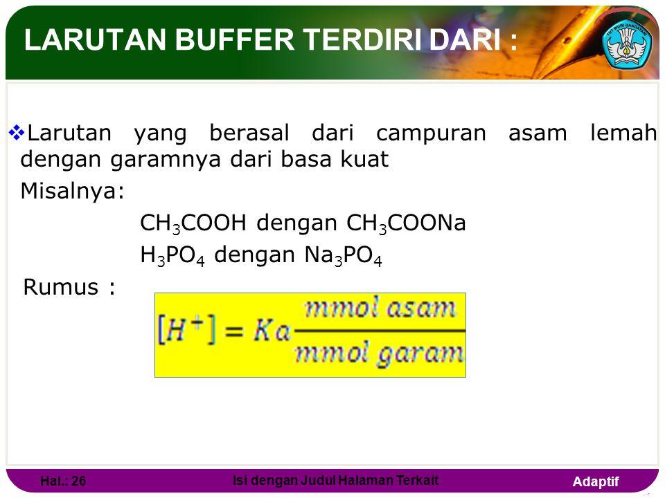 Adaptif LARUTAN BUFFER  Adalah larutan yang dapat mempertahankan pH terhadap pengenceran maupun penambahan sedikit asam maupun basa. Hal.: 25 Isi den