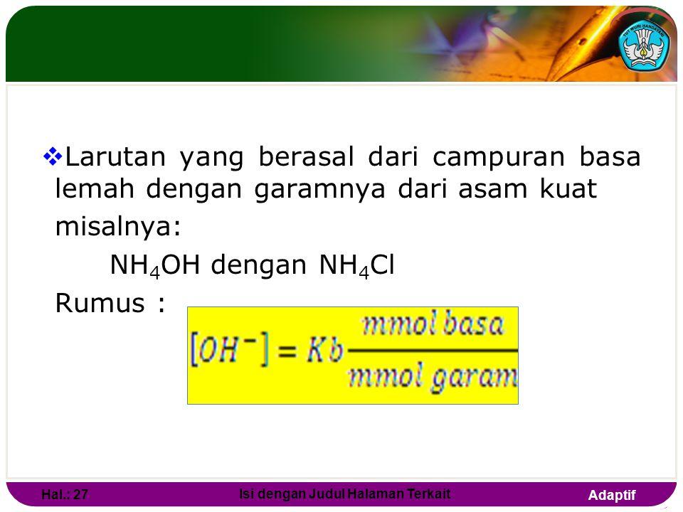 Adaptif LARUTAN BUFFER TERDIRI DARI :  Larutan yang berasal dari campuran asam lemah dengan garamnya dari basa kuat Misalnya: CH 3 COOH dengan CH 3 C