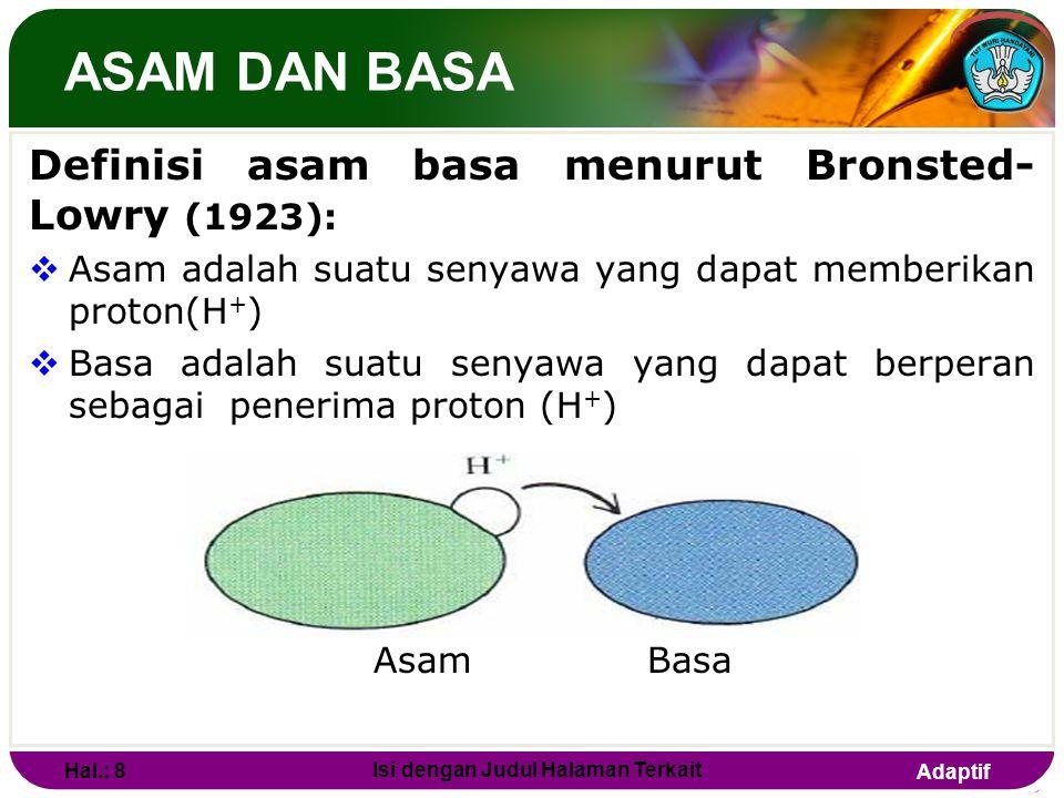Adaptif ASAM DAN BASA  Reaksi keseluruhannya : H + + Cl - + NH 4 + + OH - NH 4 + + Cl - + H 2 O  Secara umum : asam + basa garam + air  Konsep asam
