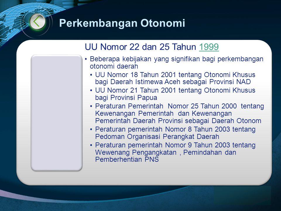 LOGO www.themegallery.com Perkembangan Otonomi UU Nomor 22 dan 25 Tahun 19991999 •Beberapa kebijakan yang signifikan bagi perkembangan otonomi daerah •UU Nomor 18 Tahun 2001 tentang Otonomi Khusus bagi Daerah Istimewa Aceh sebagai Provinsi NAD •UU Nomor 21 Tahun 2001 tentang Otonomi Khusus bagi Provinsi Papua •Peraturan Pemerintah Nomor 25 Tahun 2000 tentang Kewenangan Pemerintah dan Kewenangan Pemerintah Daerah Provinsi sebagai Daerah Otonom •Peraturan pemerintah Nomor 8 Tahun 2003 tentang Pedoman Organisasi Perangkat Daerah •Peraturan pemerintah Nomor 9 Tahun 2003 tentang Wewenang Pengangkatan, Pemindahan dan Pemberhentian PNS