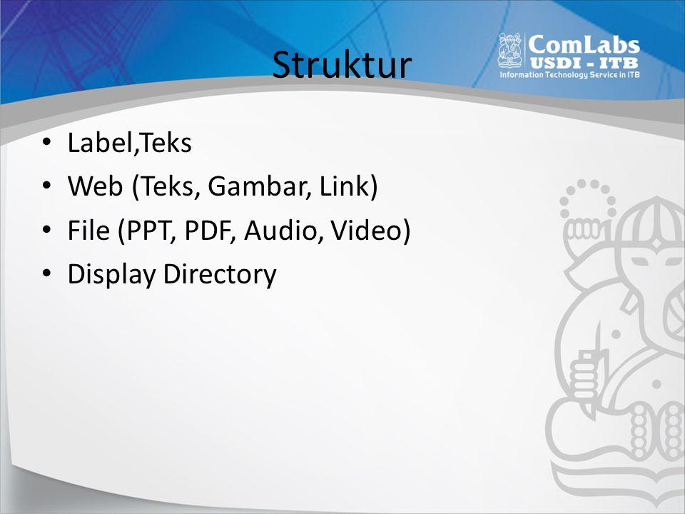 Struktur • Label,Teks • Web (Teks, Gambar, Link) • File (PPT, PDF, Audio, Video) • Display Directory