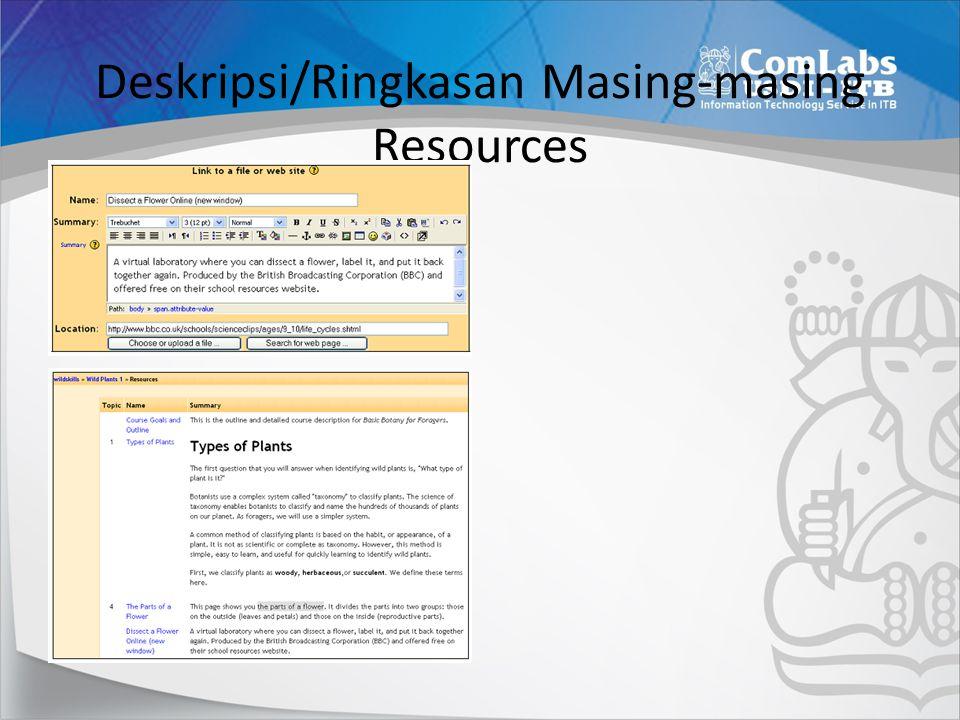 Deskripsi/Ringkasan Masing-masing Resources