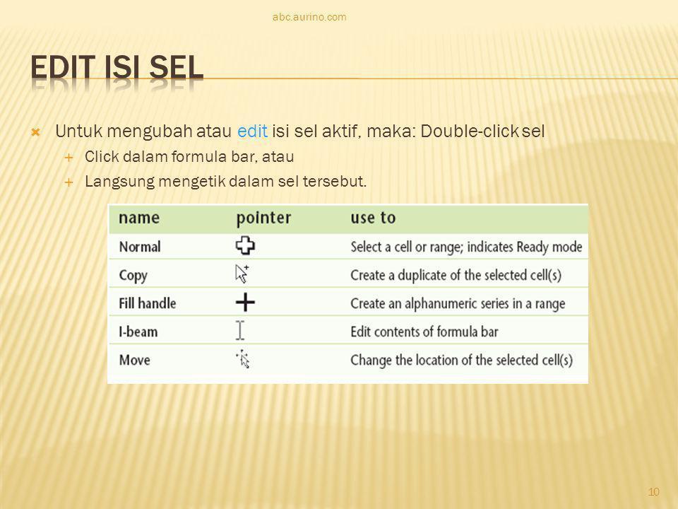  Untuk mengubah atau edit isi sel aktif, maka: Double-click sel  Click dalam formula bar, atau  Langsung mengetik dalam sel tersebut. abc.aurino.co