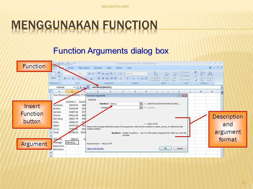 abc.aurino.com Function Argument Insert Function button Description and argument format Function Arguments dialog box 21