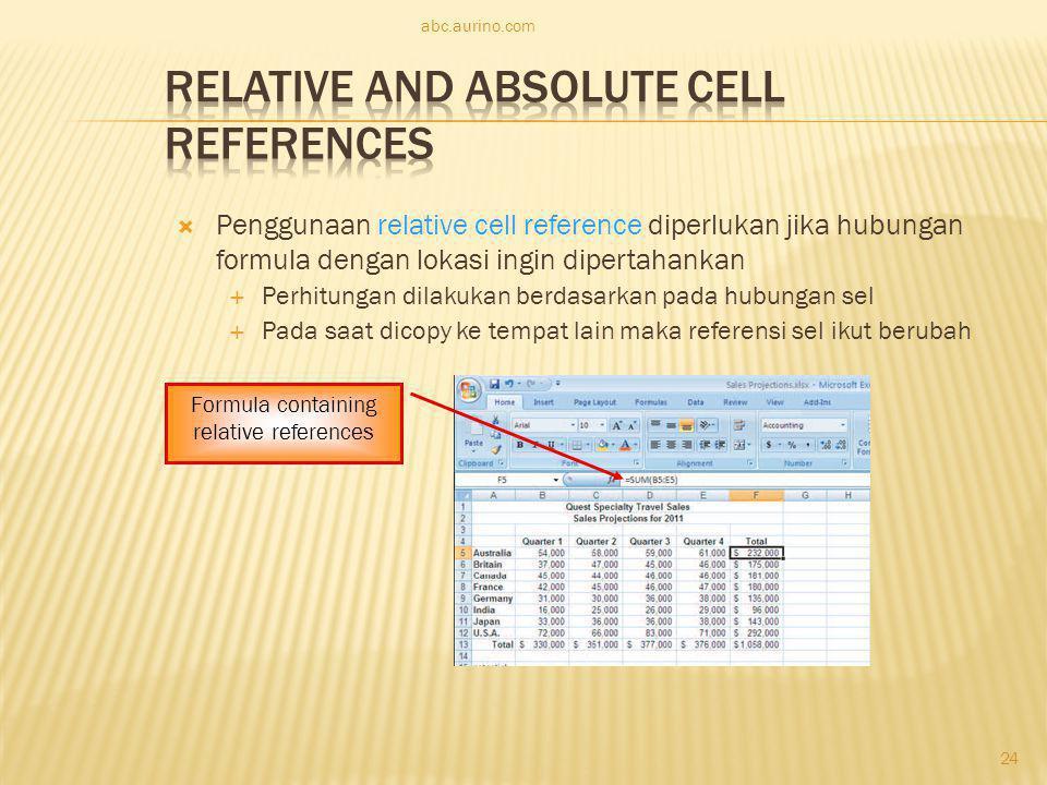  Penggunaan relative cell reference diperlukan jika hubungan formula dengan lokasi ingin dipertahankan  Perhitungan dilakukan berdasarkan pada hubun