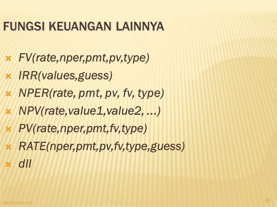 abc.aurino.com FUNGSI KEUANGAN LAINNYA  FV(rate,nper,pmt,pv,type)  IRR(values,guess)  NPER(rate, pmt, pv, fv, type)  NPV(rate,value1,value2,...) 