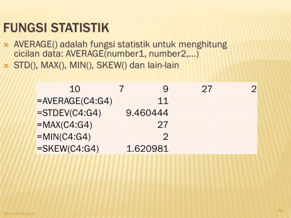 abc.aurino.com FUNGSI STATISTIK  AVERAGE() adalah fungsi statistik untuk menghitung cicilan data: AVERAGE(number1, number2,…)  STD(), MAX(), MIN(),