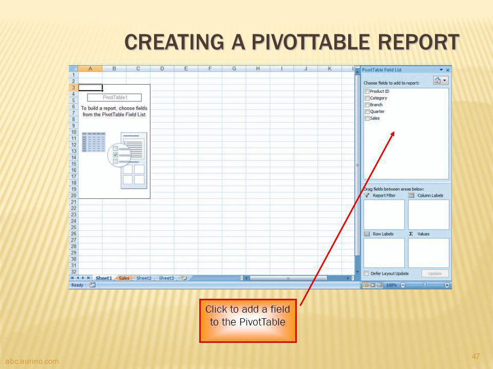abc.aurino.com CREATING A PIVOTTABLE REPORT Click to add a field to the PivotTable 47