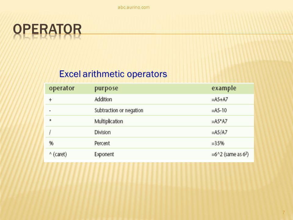 Excel arithmetic operators 7 abc.aurino.com