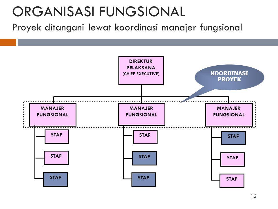 ORGANISASI FUNGSIONAL Proyek ditangani lewat koordinasi manajer fungsional 13 DIREKTUR PELAKSANA (CHIEF EXECUTIVE) MANAJER FUNGSIONAL STAF KOORDINASI