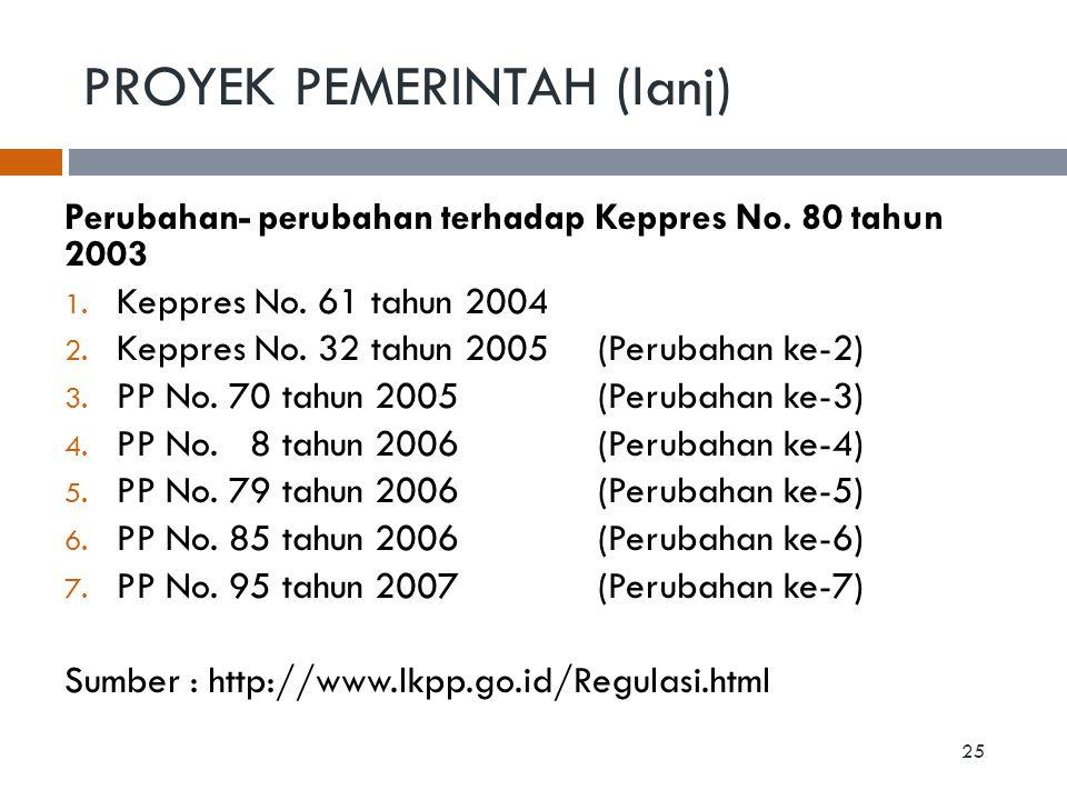 PROYEK PEMERINTAH (lanj) Perubahan- perubahan terhadap Keppres No. 80 tahun 2003 1. Keppres No. 61 tahun 2004 2. Keppres No. 32 tahun 2005(Perubahan k