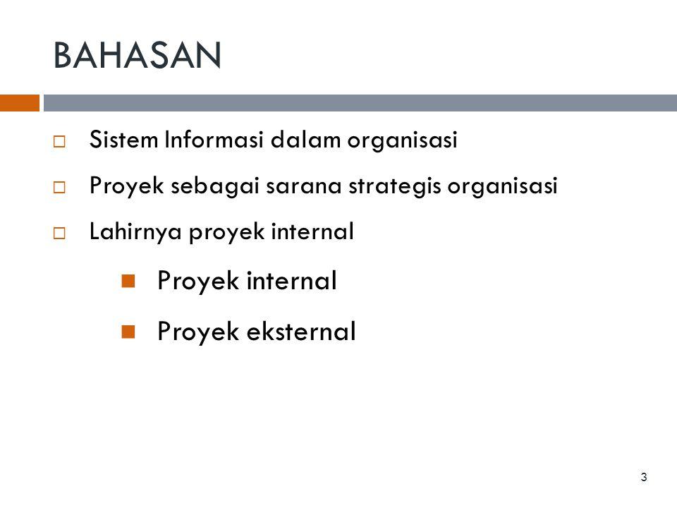 BAHASAN  Sistem Informasi dalam organisasi  Proyek sebagai sarana strategis organisasi  Lahirnya proyek internal  Proyek internal  Proyek ekstern