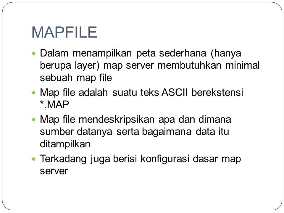 MAPFILE  Dalam menampilkan peta sederhana (hanya berupa layer) map server membutuhkan minimal sebuah map file  Map file adalah suatu teks ASCII bere