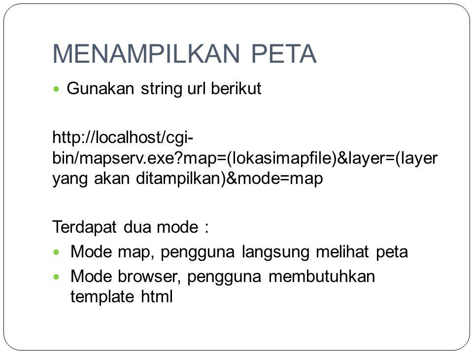 MENAMPILKAN PETA  Gunakan string url berikut http://localhost/cgi- bin/mapserv.exe?map=(lokasimapfile)&layer=(layer yang akan ditampilkan)&mode=map T