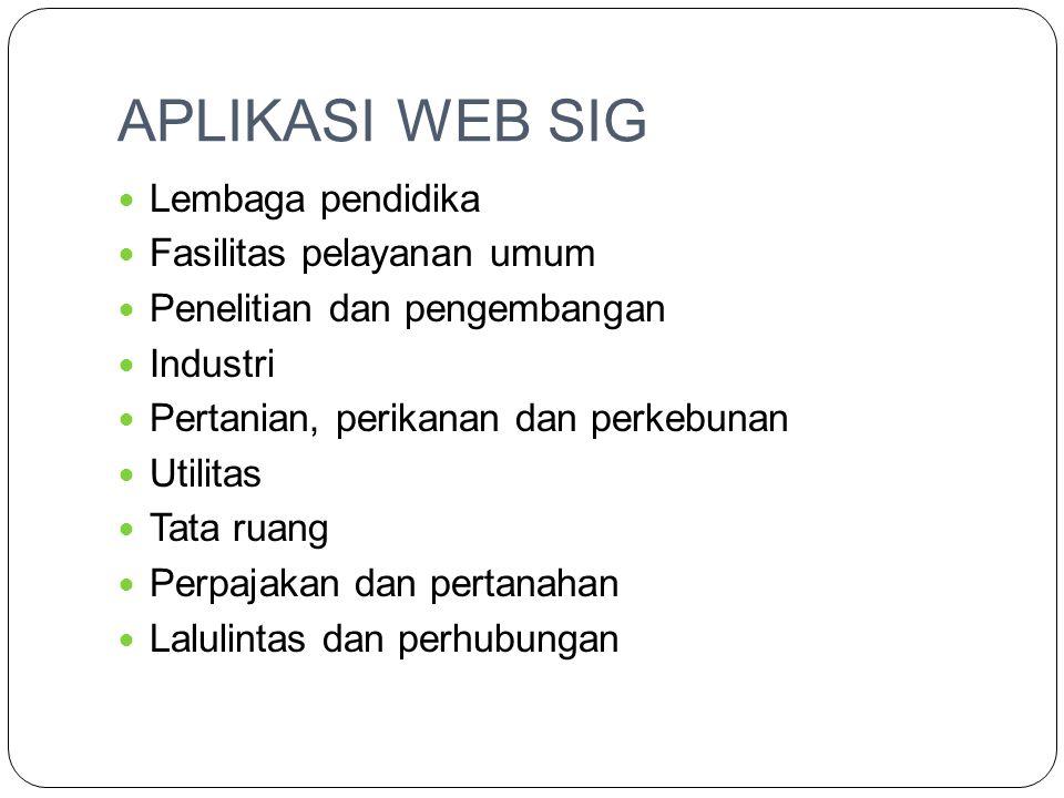 APLIKASI WEB SIG  Lembaga pendidika  Fasilitas pelayanan umum  Penelitian dan pengembangan  Industri  Pertanian, perikanan dan perkebunan  Utili
