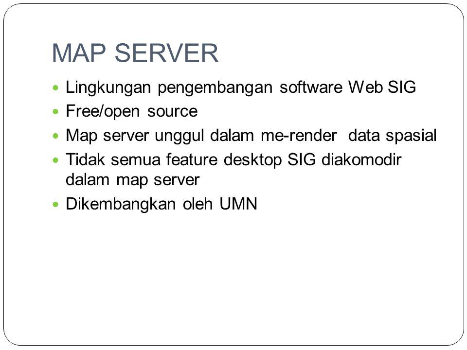 MAP SERVER  Lingkungan pengembangan software Web SIG  Free/open source  Map server unggul dalam me-render data spasial  Tidak semua feature deskto