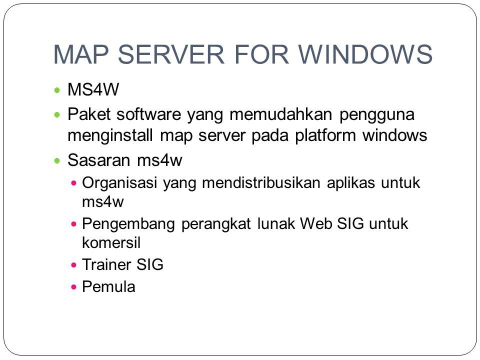 MAP SERVER FOR WINDOWS  MS4W  Paket software yang memudahkan pengguna menginstall map server pada platform windows  Sasaran ms4w  Organisasi yang