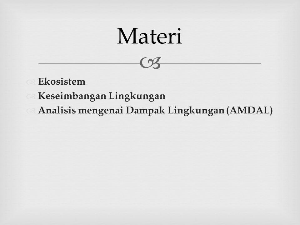  EEkosistem KKeseimbangan Lingkungan AAnalisis mengenai Dampak Lingkungan (AMDAL) Materi