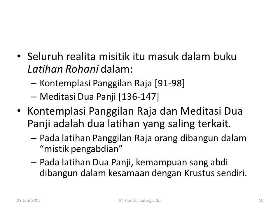 • Seluruh realita misitik itu masuk dalam buku Latihan Rohani dalam: – Kontemplasi Panggilan Raja [91-98] – Meditasi Dua Panji [136-147] • Kontemplasi