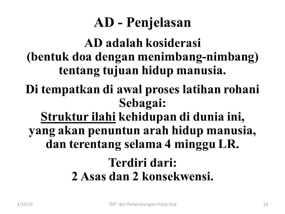AD adalah kosiderasi (bentuk doa dengan menimbang-nimbang) tentang tujuan hidup manusia. Di tempatkan di awal proses latihan rohani Sebagai: Struktur